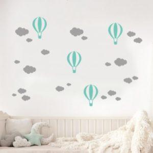 Balónkové a mrakové samolepky na stěnu Šedá-Mint