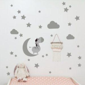 Nálepka na stěnu Měsíc a hvězdy Šedá
