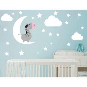 Nálepka na stěnu Měsíc a hvězdy Bílá